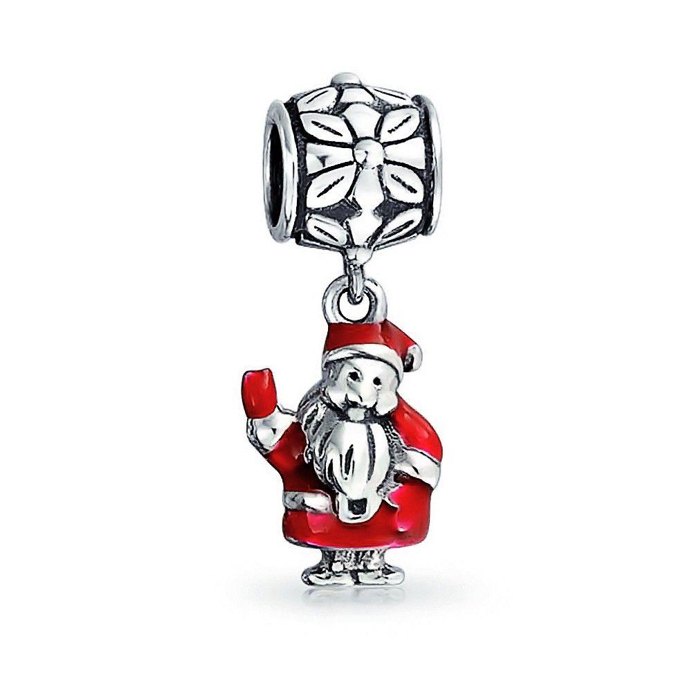 Sterling Silver Christmas Sleigh Enamel Dangle for European Charm Bracelets