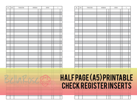A5 Half Page Printable Check Register Inserts, Budgeting Insert