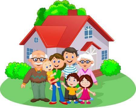 Familia Feliz De Dibujos Animados Family Cartoon Happy Cartoon Family Illustration