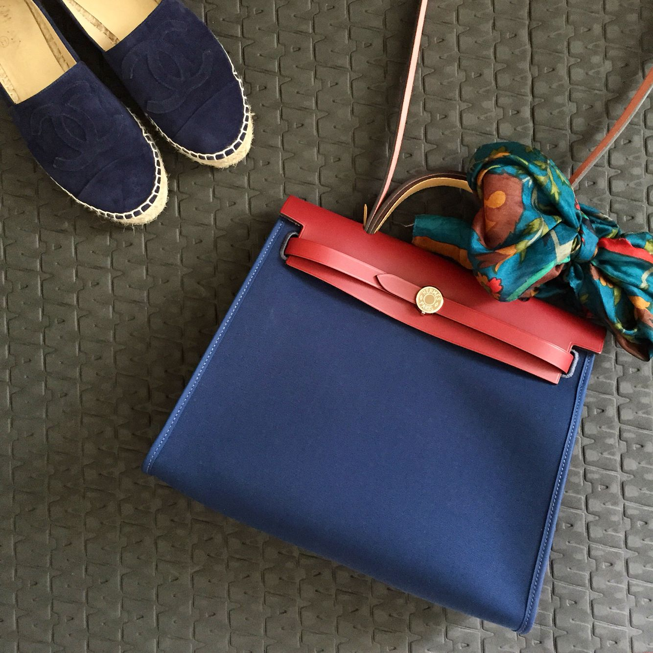 2a2180b6b1 Hermes Herbag Navy and Chanel Navy Suede Espadrilles PSL
