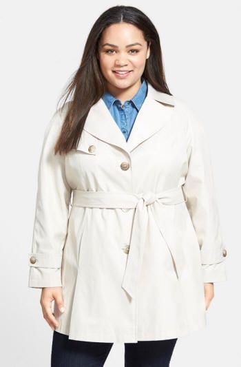 Designer: DKNY, White Belted Trench Coat, Plus-Size 1X - 3X | ElegantPlus.com Fashion Flash
