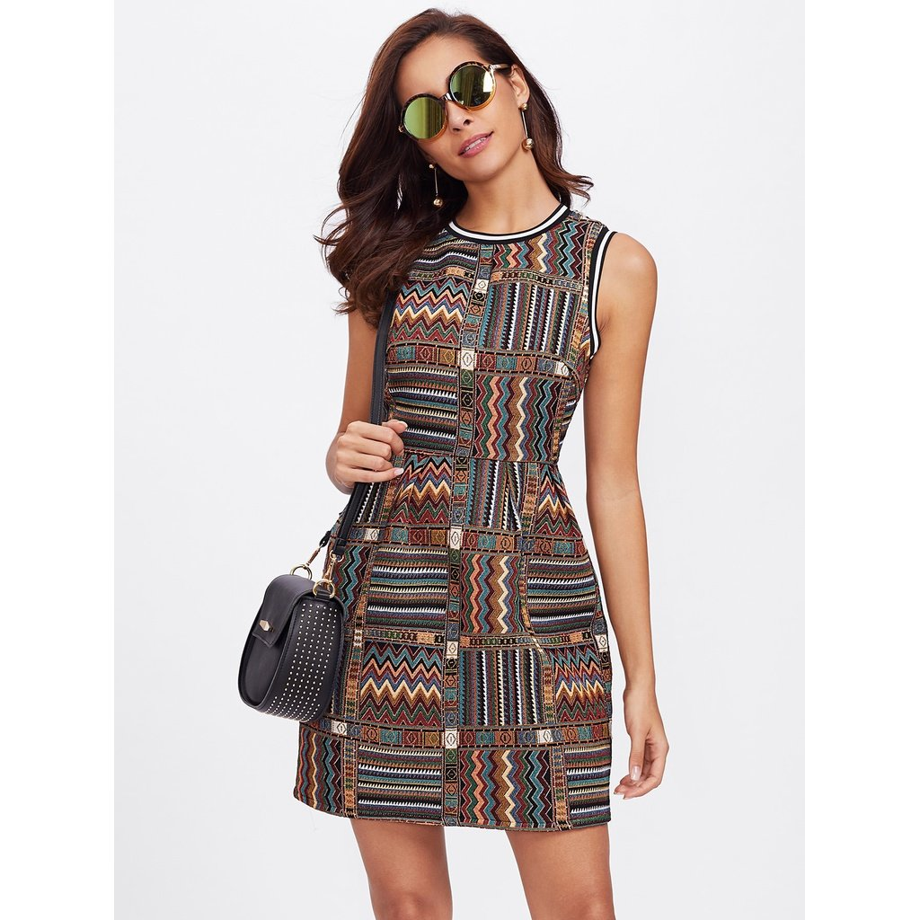 Tribal Womens Sleeveless Embroidered Stripe
