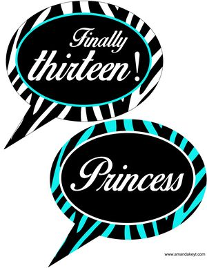 Speech Bubbles From 13th Birthday Zebra Print Teal Printable Photo