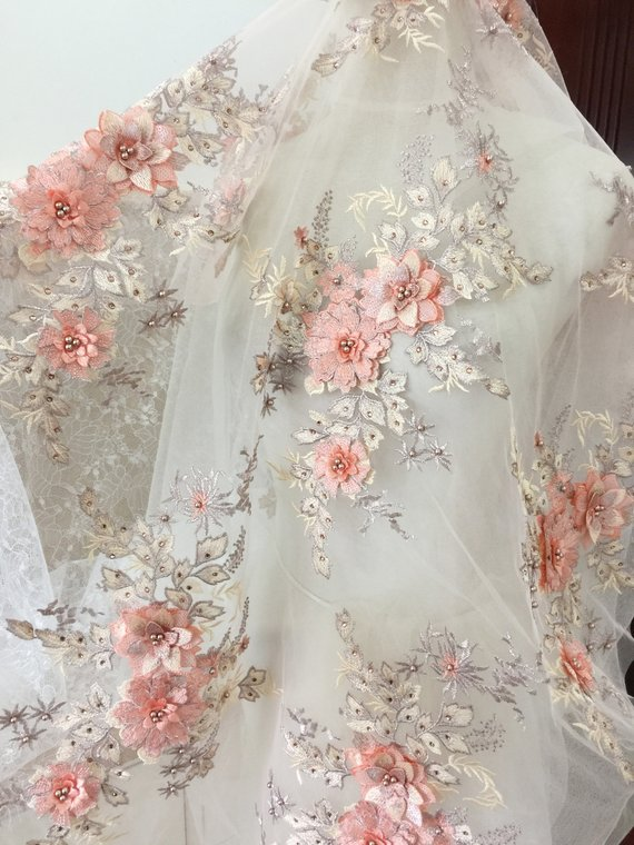 Floral Embroidery Lace Fabric Mesh with Pearls Rhinestone DIY Wedding Bridal Evening Dress Costume Clothing 51 Width Sold by the yard