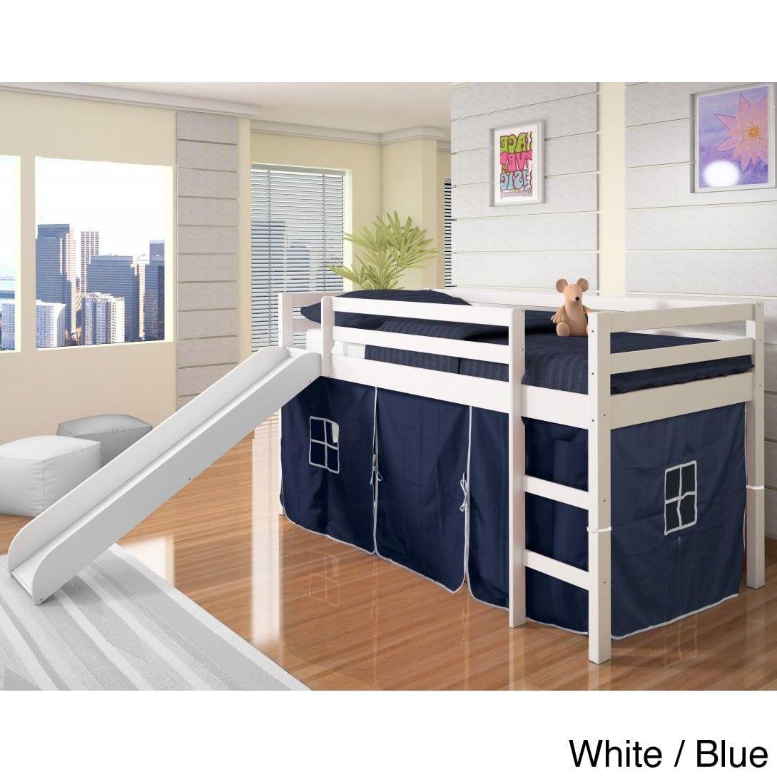 Slide for loft bed  Donco Kids Wood Twinsize Tent Loft Bed with Slide WhiteBlue