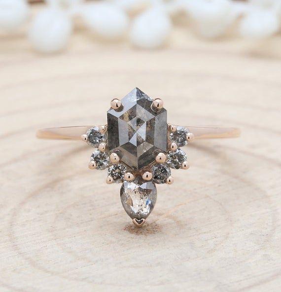 Salt And Pepper Hexagon Diamond 14K Solid Gold Ring Engagement Wedding Gift Ring KD709