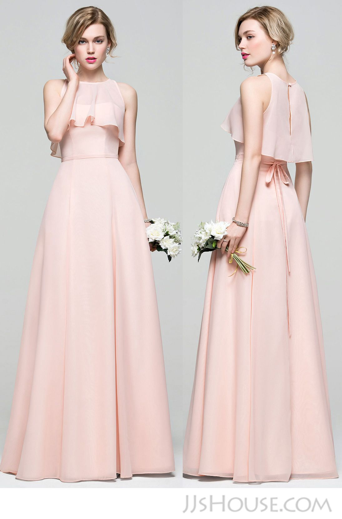 Alineprincess sweetheart floorlength chiffon bridesmaid dress