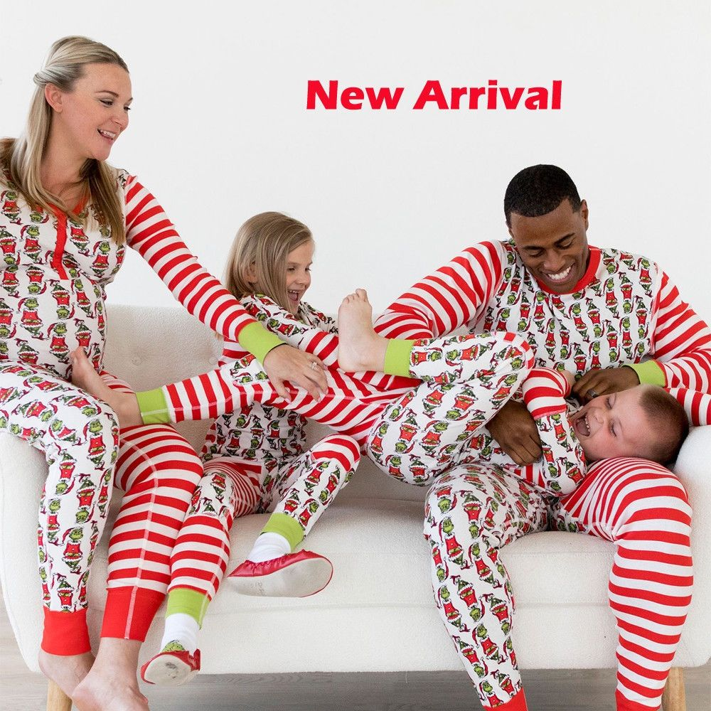 0f39826010 2018 Christmas Family Matching Christmas Pajamas Set Women Baby Kids Family  Small green strange Striped Pyjamas Kids Clothes Set