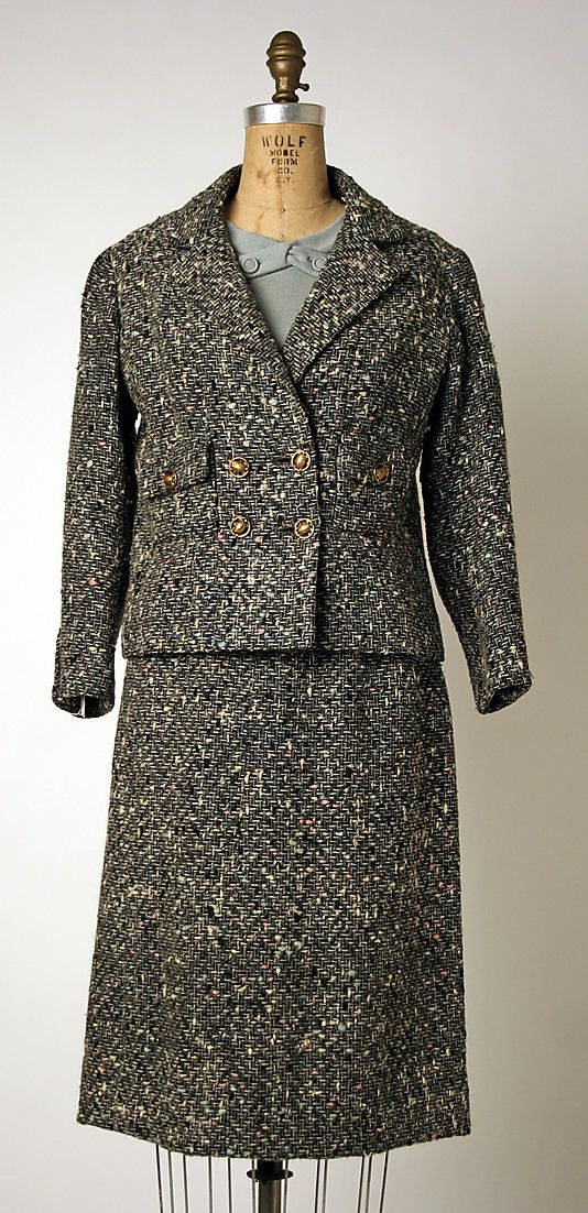 """Suit House of Chanel (French, founded 1913) Designer: Gabrielle """"Coco"""" Chanel (French, Saumur 1883–1971 Paris) Date: 1953–59 Culture: French Medium: wool"""