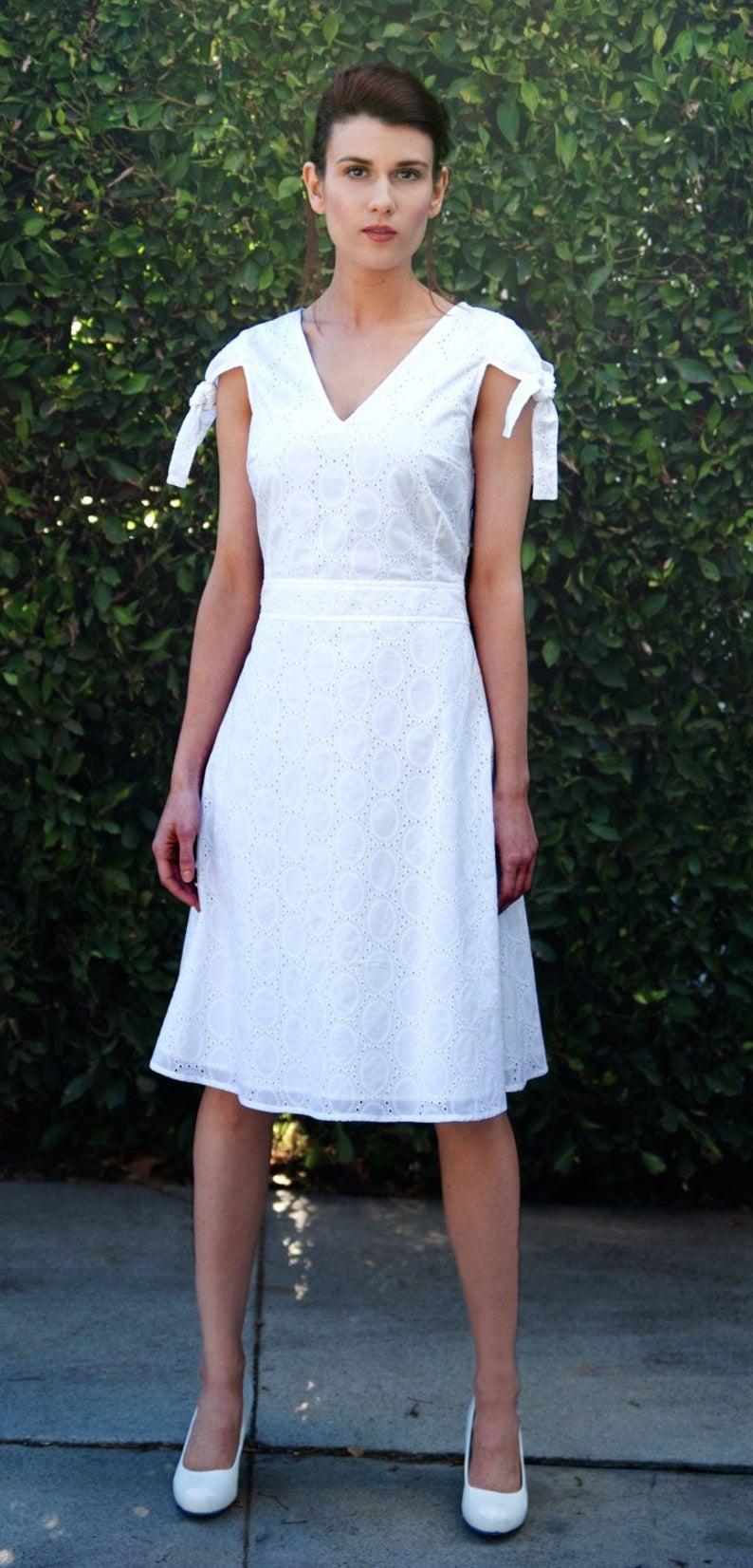 White Midi Dress White Sun Dress Fit And Flare Dress Midi Etsy In 2020 Knee Length Wedding Dress Wedding Dress Fabrics Casual Wedding Dress [ 1652 x 794 Pixel ]