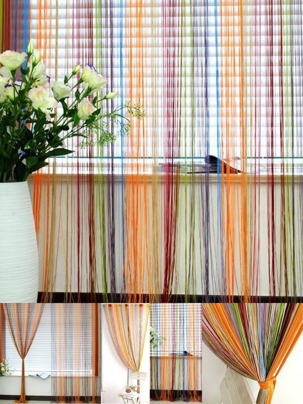 Multi Color String Curtain Fringe Panel Room Divider: Pinterest