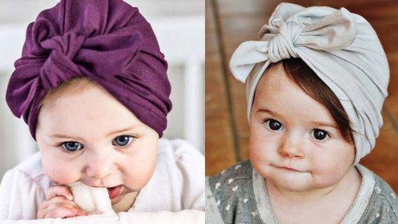 69f1479c4cb Eggplant   Gray Set of 2  Jersey Baby Turban hats w bow