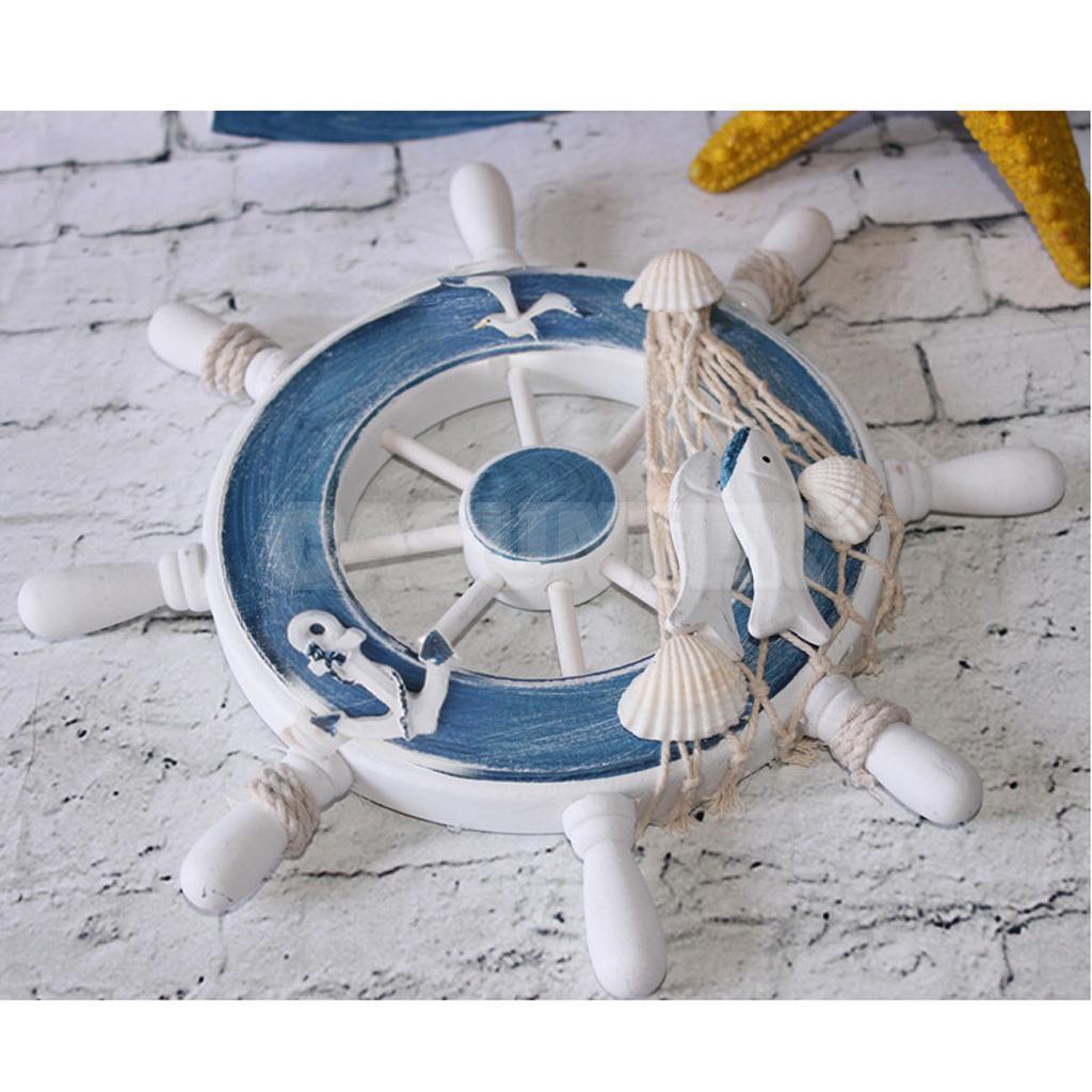Blue Nautical Wood Boat Ship Steering Wheel Net Wall Hanging Home Decor #4