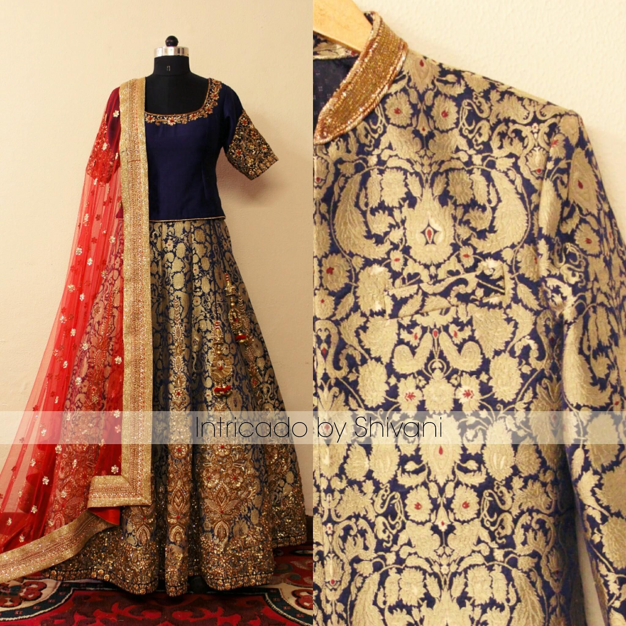 Zardozi  kundan   stone embroidered lehenga in pure Kimkhab fabric and a matching sherwani for the groom. To customize/order/enquiry  Email at shivani@intricado.com  Whatsapp:- +91 8527463626