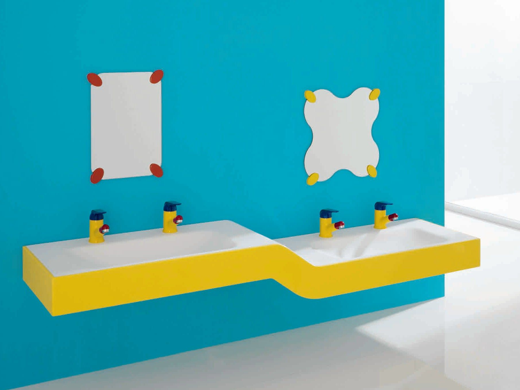 Double Acrylic Stone Washbasin For Children Bagnocucciolo Milk  # Muebles Infantiles Lupi Love