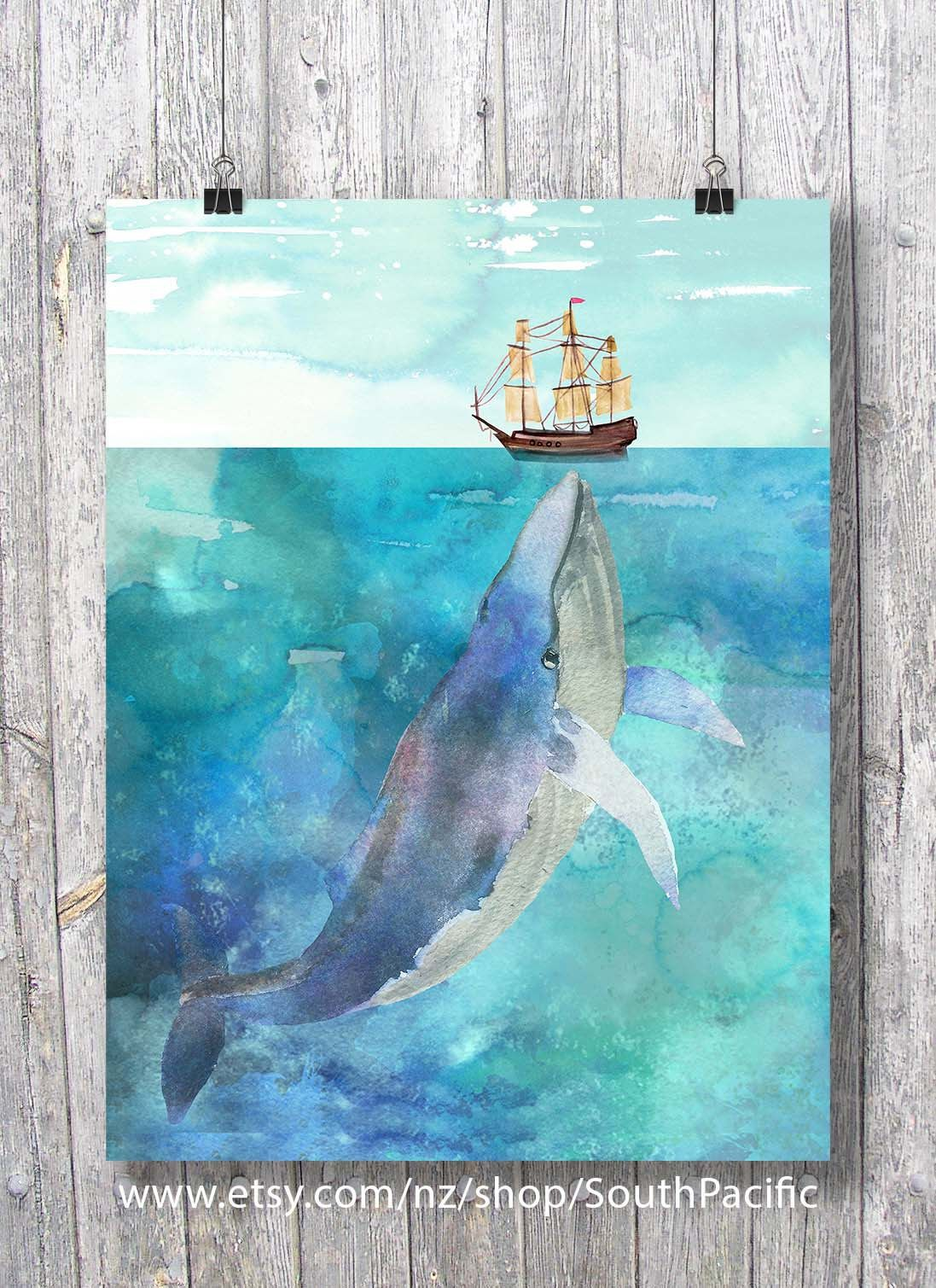 Whale And Boat Watercolor The Sea Is So Big And My Boat Is So