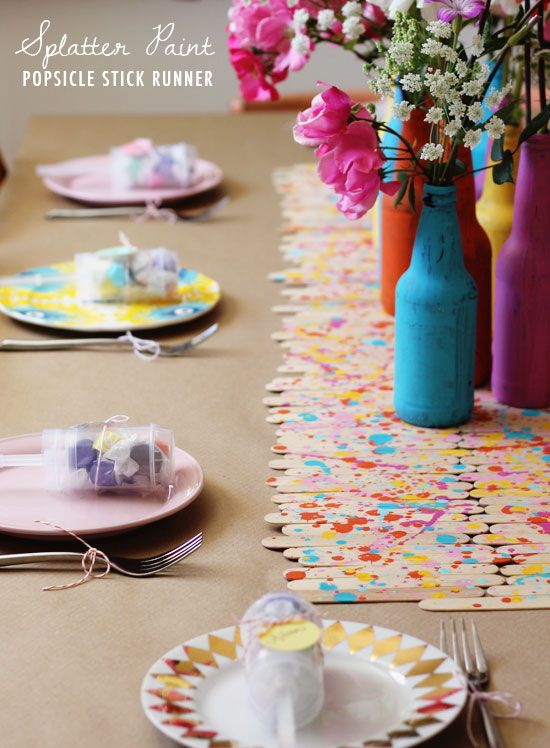 Diy Splatter Paint Popsicle Stick Runner At Home In Love Diy Party Decorations Diy Table Runner Wedding Diy Birthday Decorations