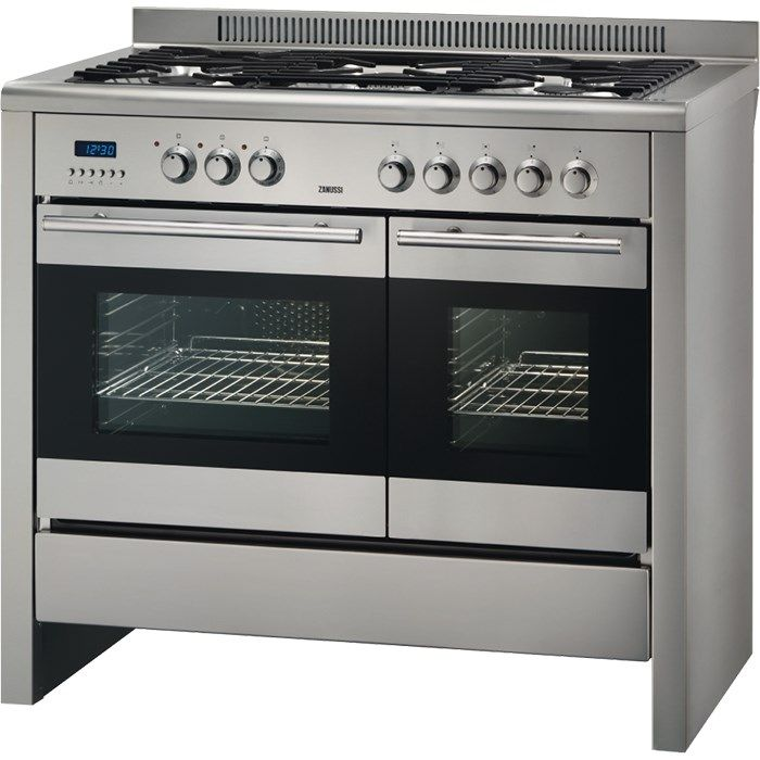 Zanussi 100cm Dual Fuel Range Cooker 5 Burner Gas Hob With Cast Iron Supports Double Oven Multifunction Aut Range Cooker Dual Fuel Range Cookers Double Oven