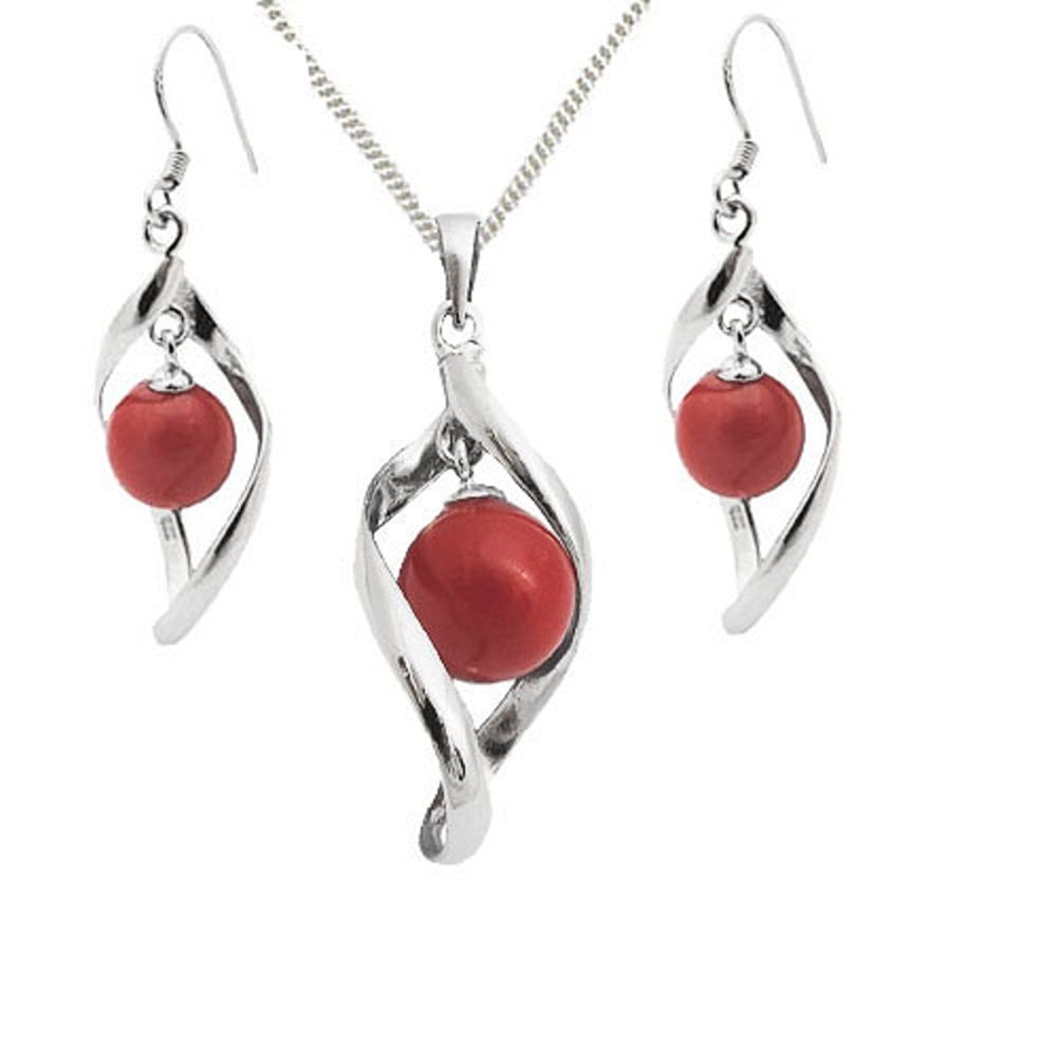 925 Sterling Silver Coral Round Twist Drop GIFT SET Pendant, Earrings and Chain - Organic Jewellery - May Birthstone