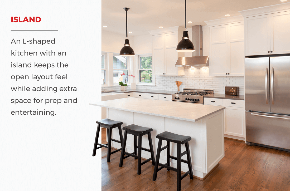 An L Shaped Kitchen With An Island Keeps The Open Layout Feel While Adding Extra Space For Prep And Clean Kitchen Layout L Shaped Kitchen Kitchen Island Design
