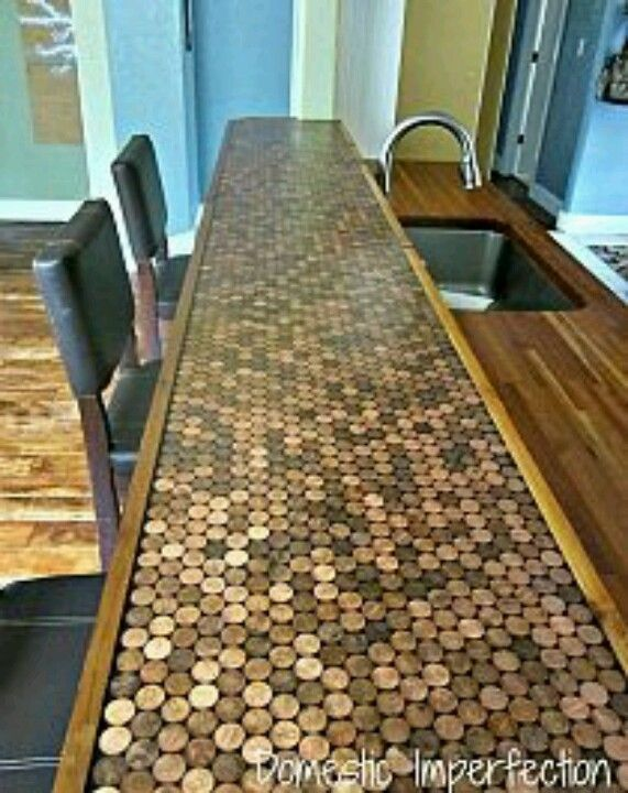 Coin Table Kool Shit Pinterest Penny Countertop, Home And   Penny Backsplash