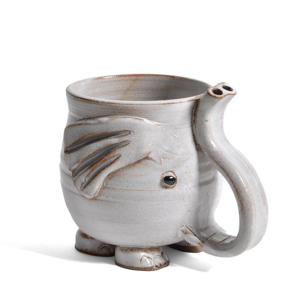 MudWorks Pottery Footed Elephant Mug with Raised Trunk Handle, White #ceramicpottery