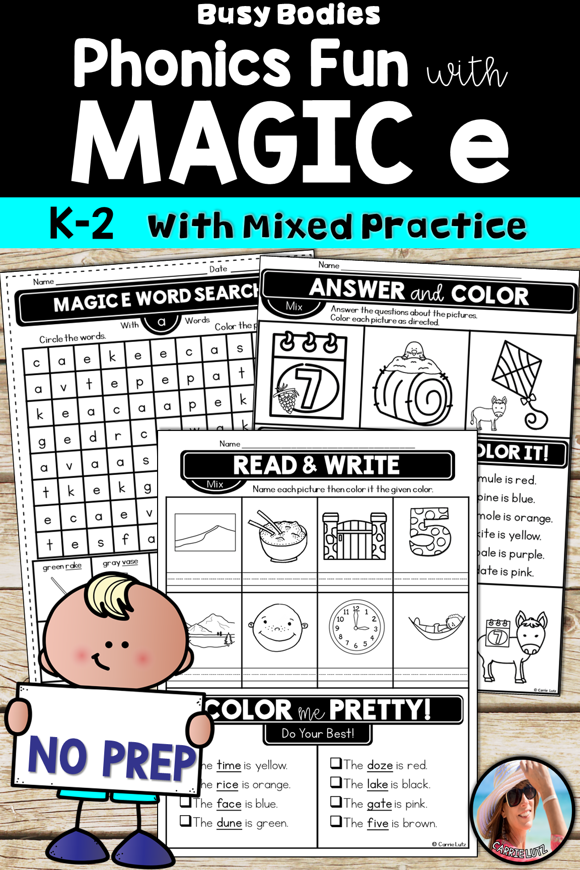 Magic E Worksheets Printable No Prep