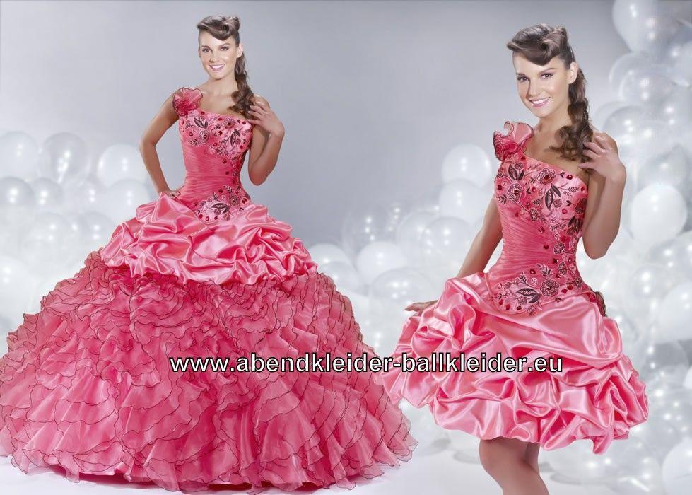 Pinkes One Shoulder Abendkleid Ballkleid Brautkleid mit ...