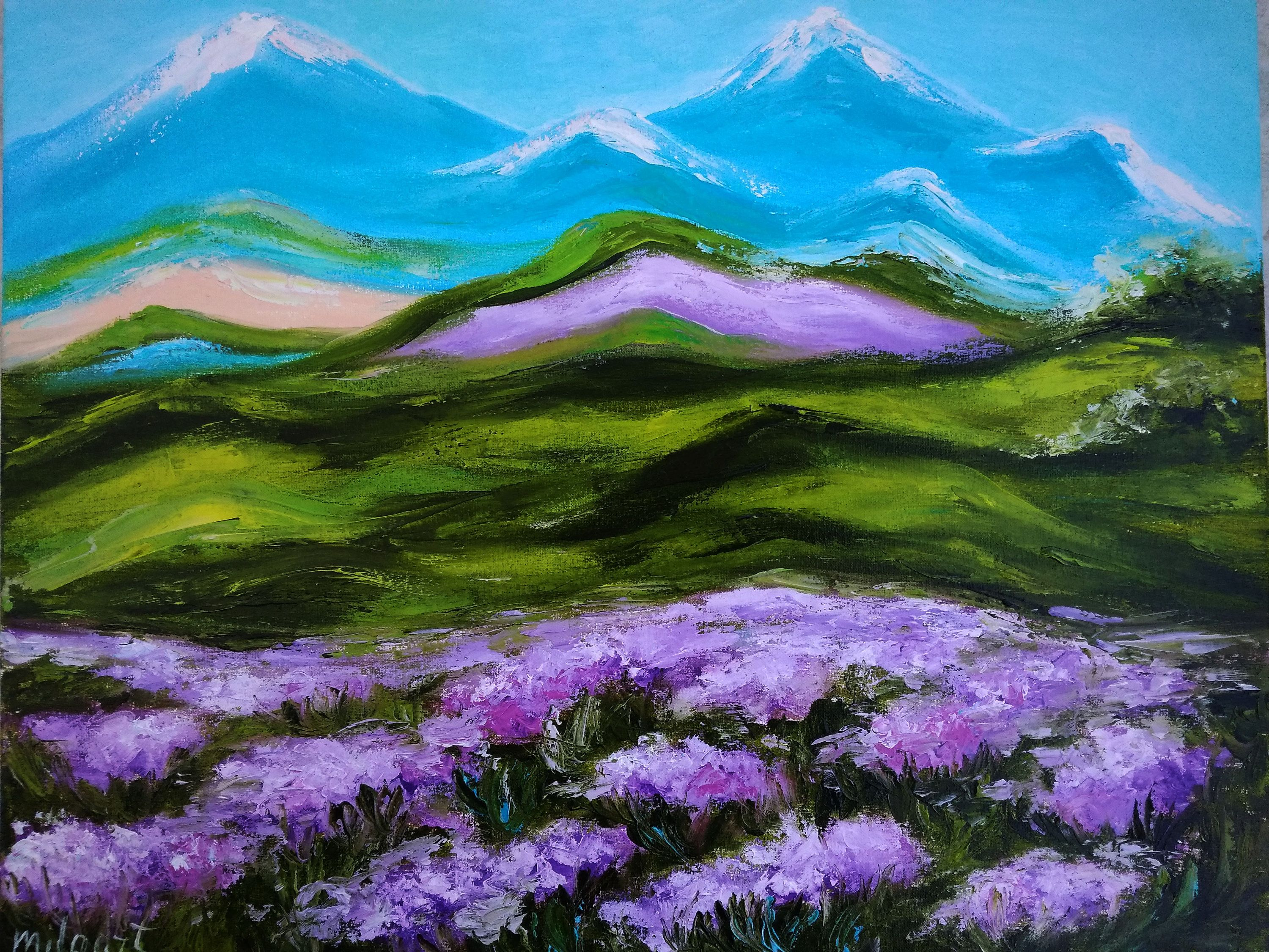 Impasto Landscape Mountain Painting Flowers Field Original Oil Canvas Large Floral Art Tuscany Colorful Landscape Abstract