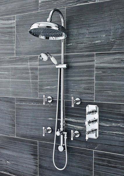 Traditional Triple Concealed Thermostatic Shower Valve Set In Chrome. Rigid  Riser Shower Kit With Concealed Elbow, Diverter And Body Jets. Only £552 ...
