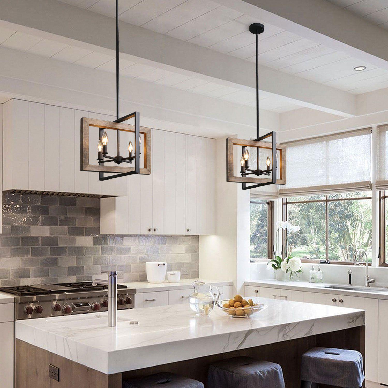 Geometric Rectangular Chandelier 4 Lights Kitchen Remodel Kitchen Design Farmhouse Island