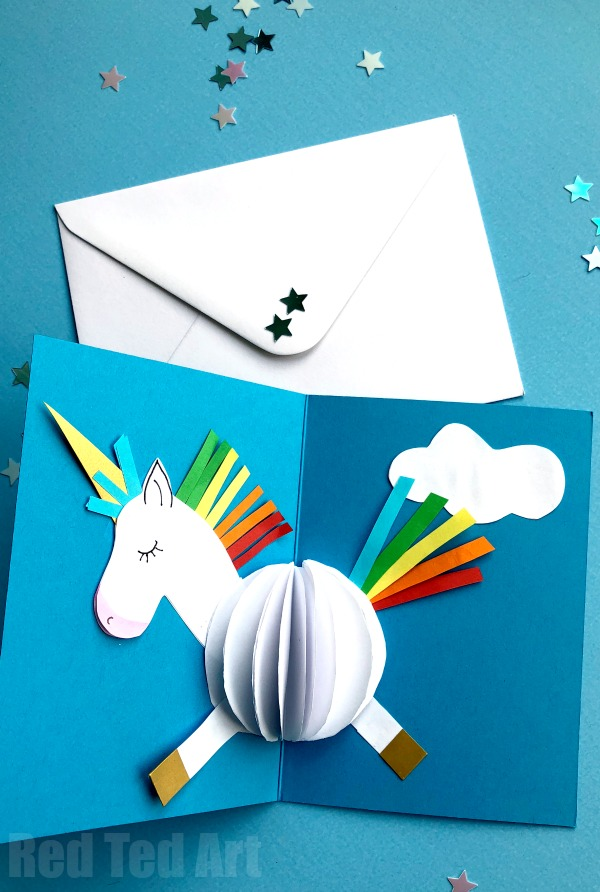 Easy Unicorn Crafts Red Ted Art Make Crafting With Kids Easy Fun Unicorn Card Unicorn Crafts Unicorn Decoration