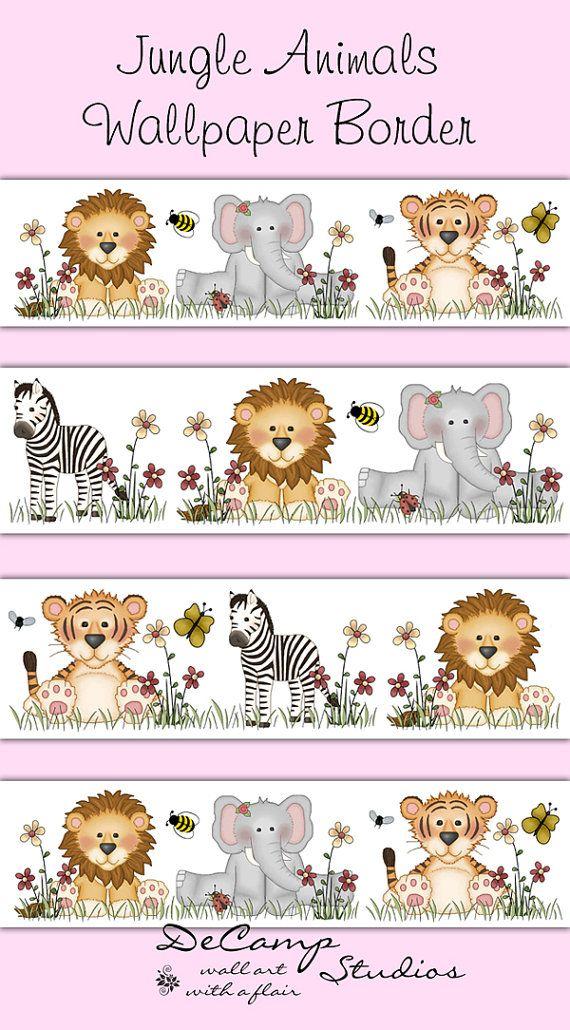 Jungle Animals Wallpaper Border Wall Decals Baby Girl Boy Nursery Childrens Safari Bedroom K Animal Wall Art Decor Nursery Decor Wallpaper Animal Nursery Decor