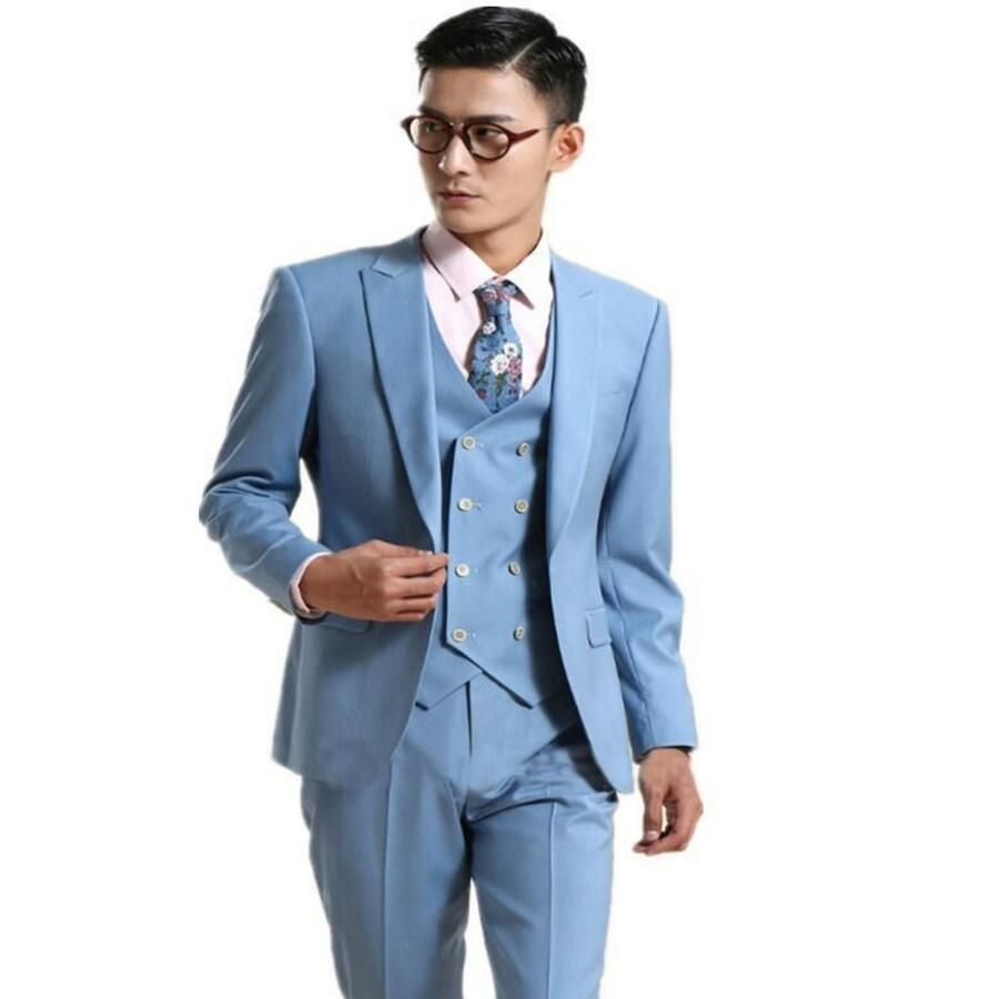 Click to Buy << Latest Style men suit Bule One Button Peaked Lapel ...