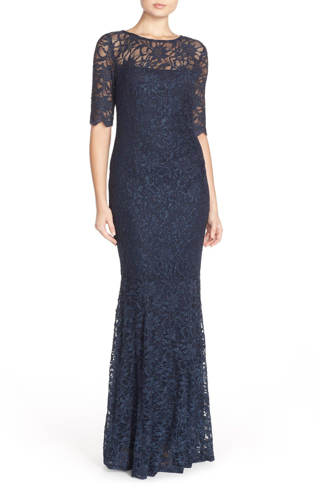 Xscape Illusion Yoke Lace Mermaid Gown (Regular & Petite) | Maria ...