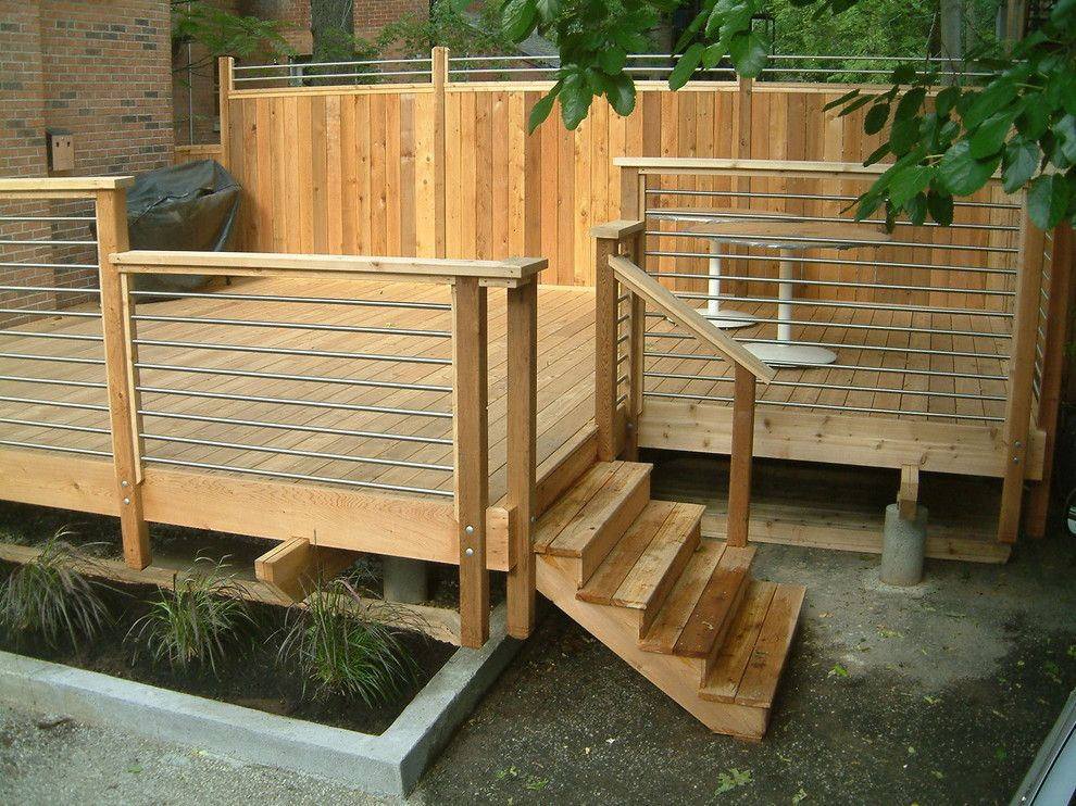 Horizontal Deck Railing Deck Contemporary With Architecture Cedar