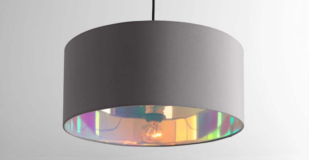 Oro Pendant Drum Lamp Shade Grey And Iridescent In 2020 Lamp Shade Drum Lampshade Lamp