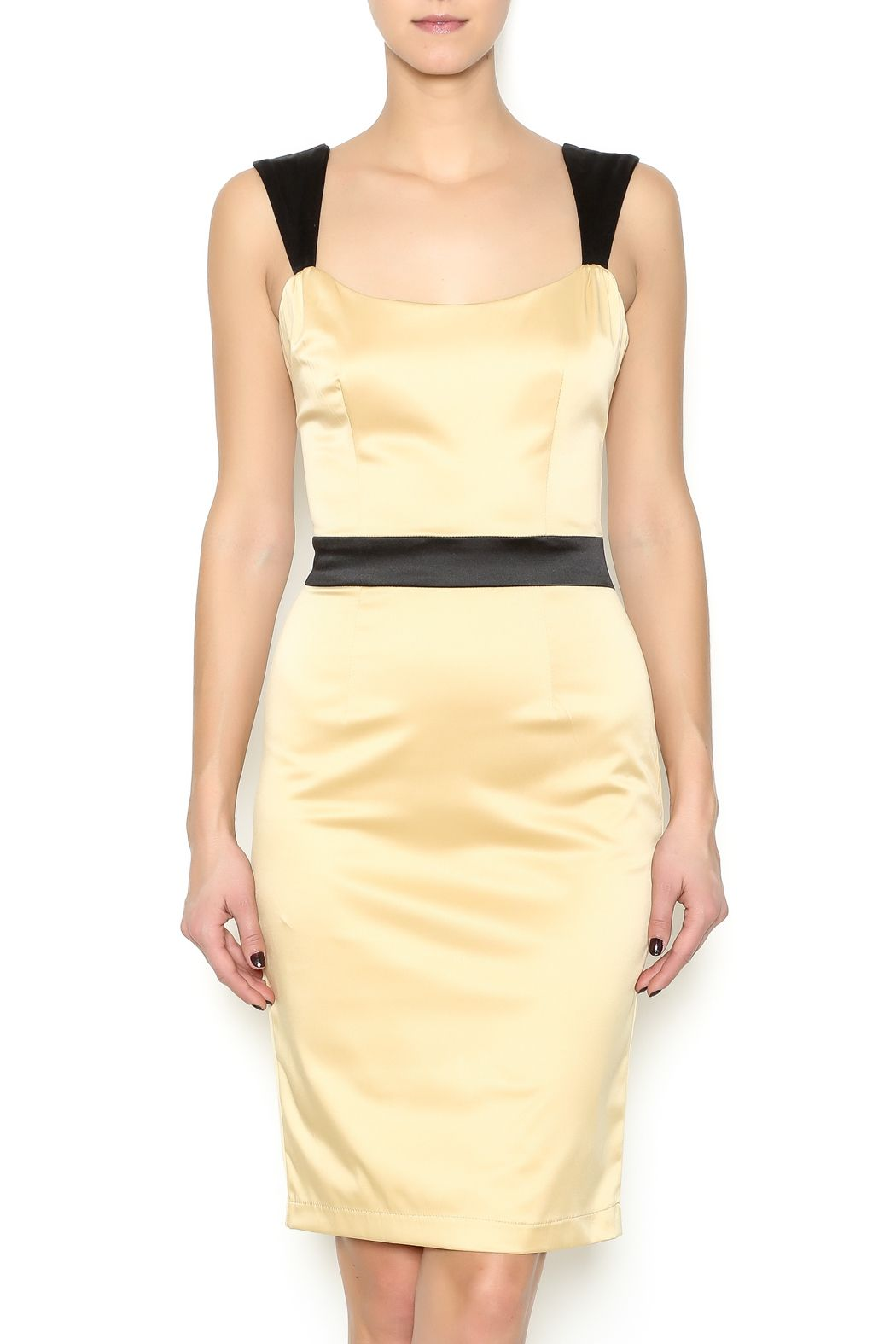 Champagne Satin Dress With A Ed Black Waist And Shoulder Straps Features An Exposed Zipper