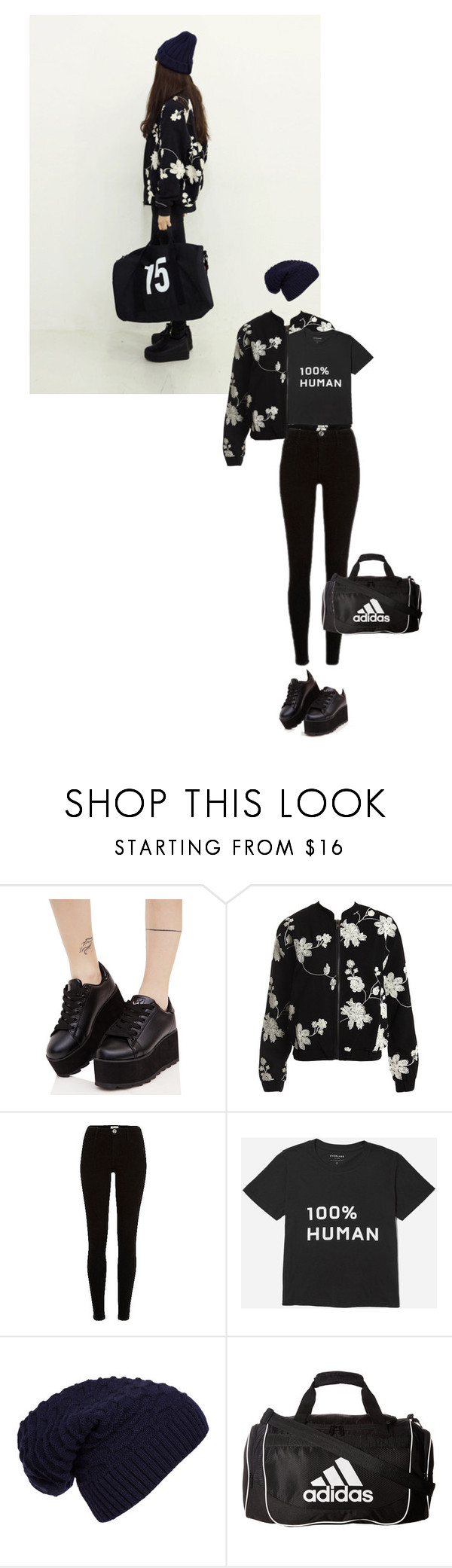 """""""Untitled #1995"""" by hologrammar ❤ liked on Polyvore featuring Y.R.U., Sans Souci, WithChic and adidas"""