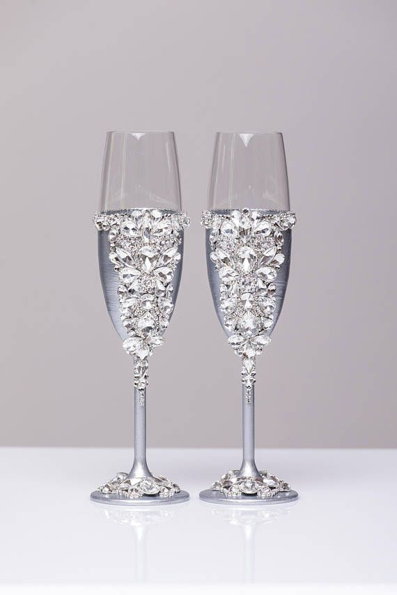 Wedding Glasses Silver Gold Blush Champagne Glasses Toasting Flutes