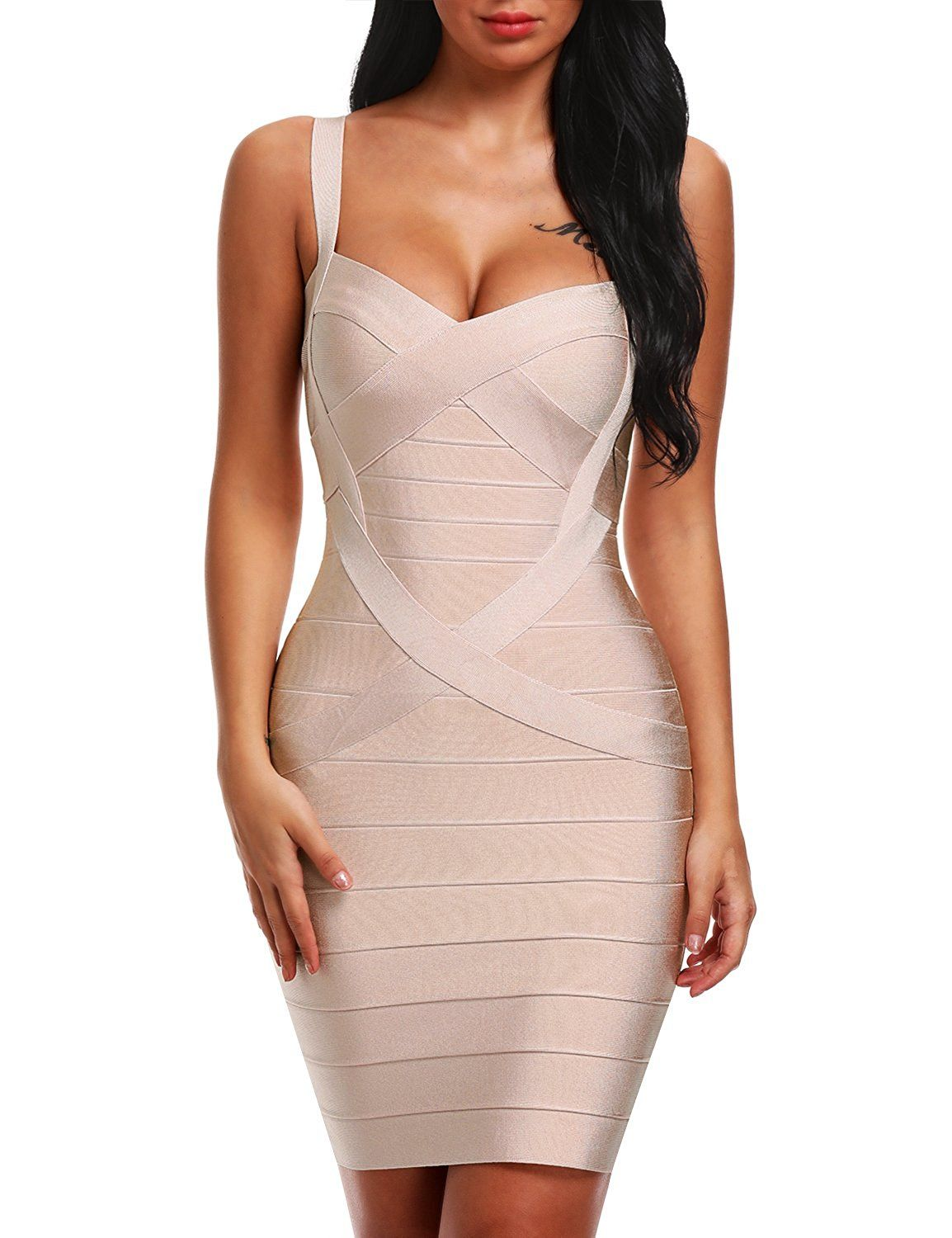 Bqueen womenus spaghetti strap bodycon bandage dress bq