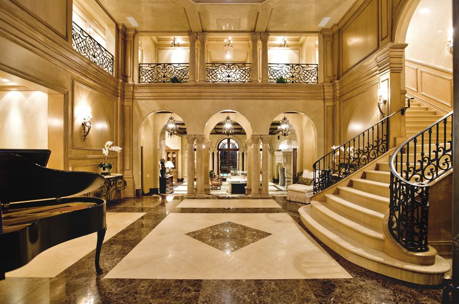 Foyer Interior Urn : A stunning two story marble foyer opens the way into this newport