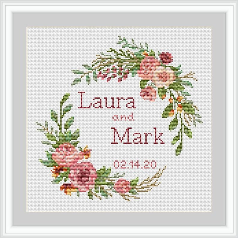 Marriage Floral Wreath Customized Couple Gift Wedding Cross Stitch Kit Personalized Cross Stitch Kit Custom Hand Embroidery xstitch