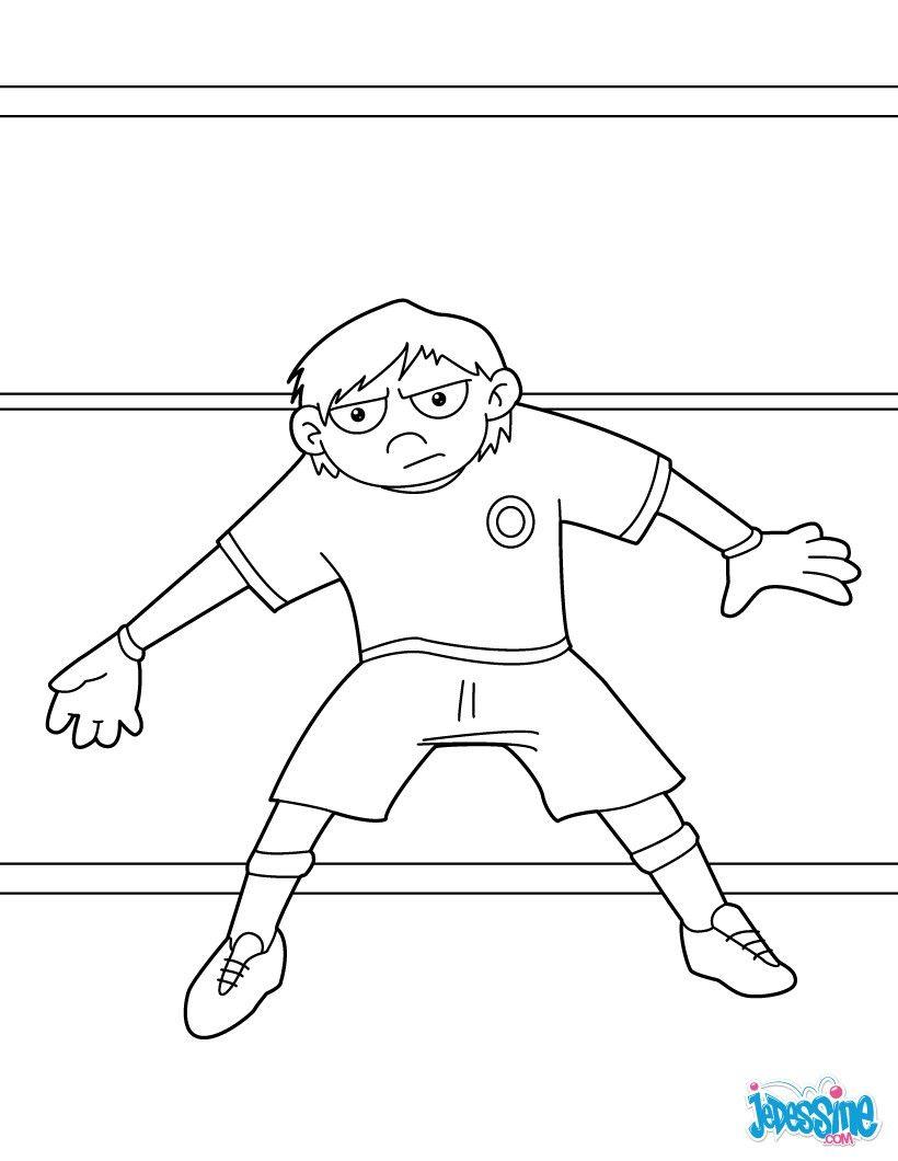 Coloriage Football Gardien.Coloriage D Un Gardien De Foot Dans Ses Cages Pendant Un Match Un