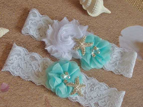 Garter Beach Wedding Garter Aqua Garter Set by