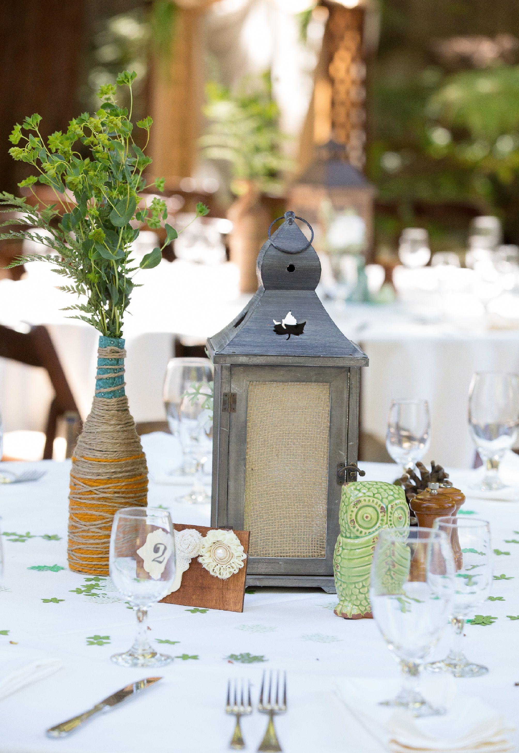 Rustic Redwood Wedding table centerpiece Lantern DIY wine bottle