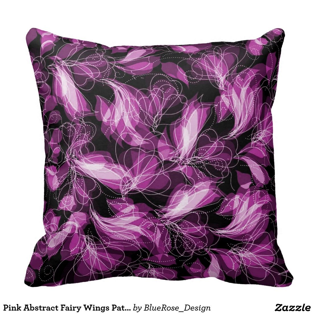Pink abstract fairy wings pattern throw pillow available in pink
