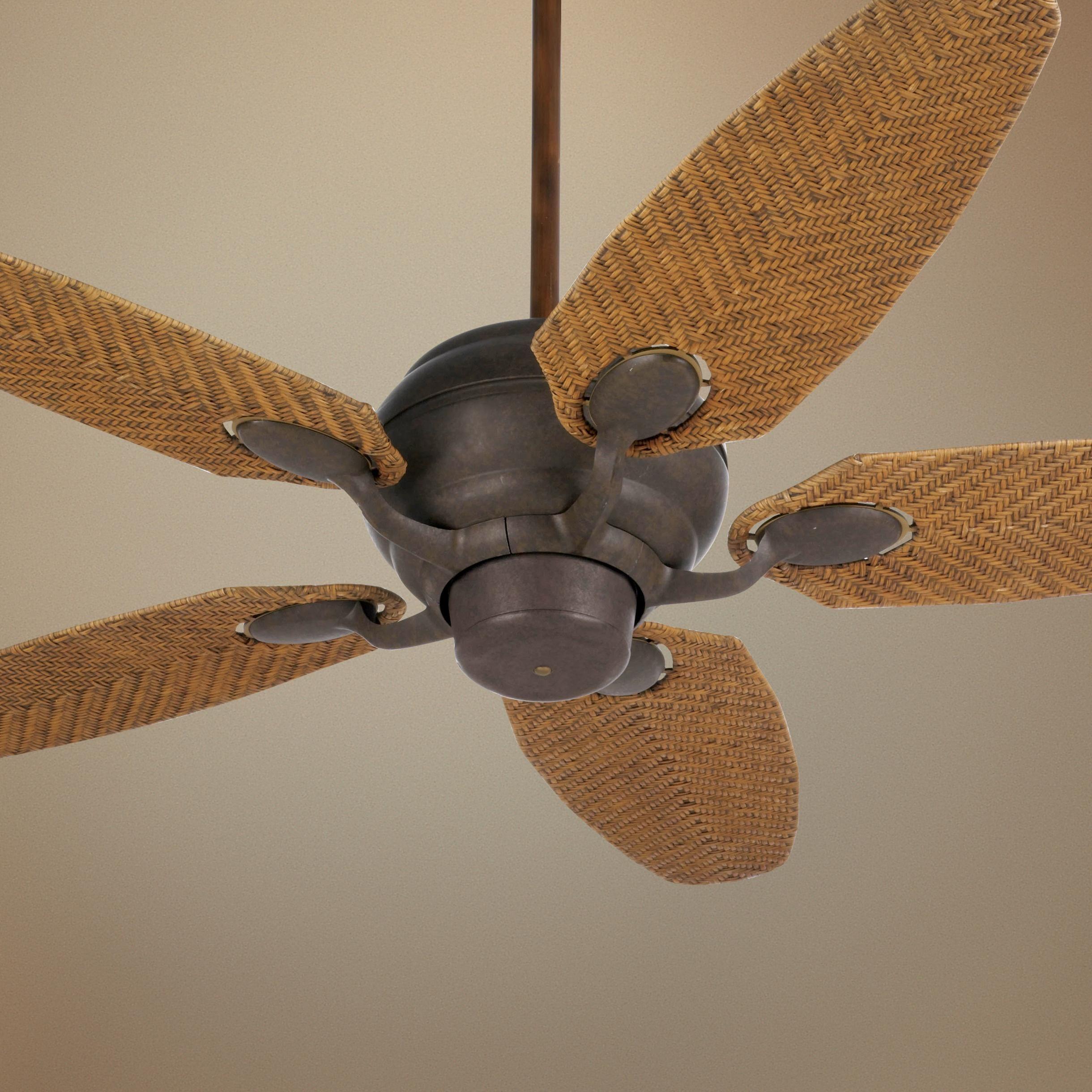 52 Casa Optima Honey Rattan Blades Ceiling Fan Ceiling Fan Coastal Ceiling Fan Tropical Ceiling Fans