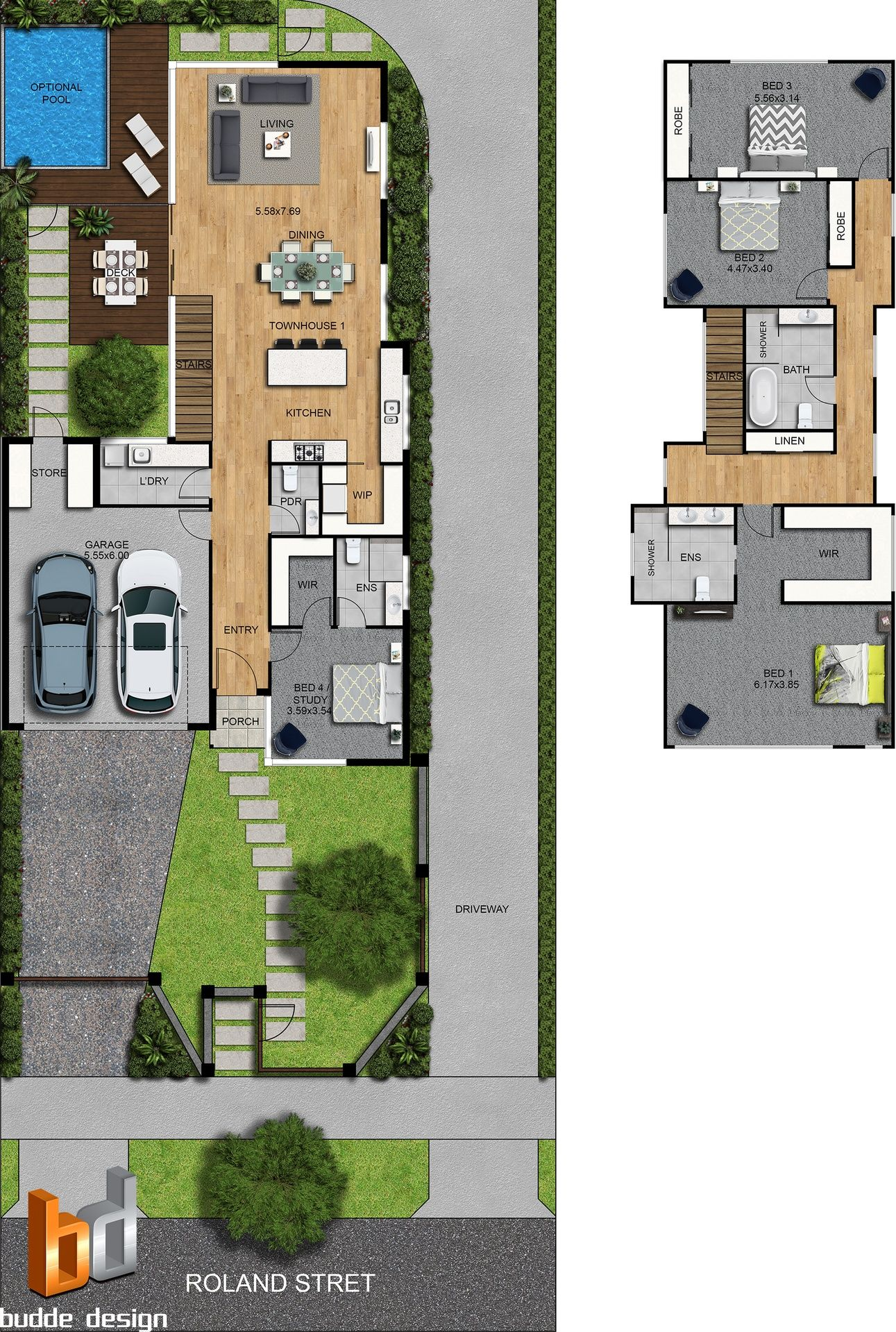 2d Colour Floor Plan And Site Plan 3 Bedroom 2 Level Townhouse Strathmore Victoria Top View Bedroom Model House Plan Modern House Plans House Layouts