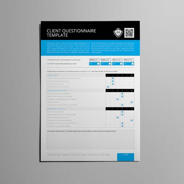 Client questionnaire template cmyk print ready clean for Home design questionnaire for clients